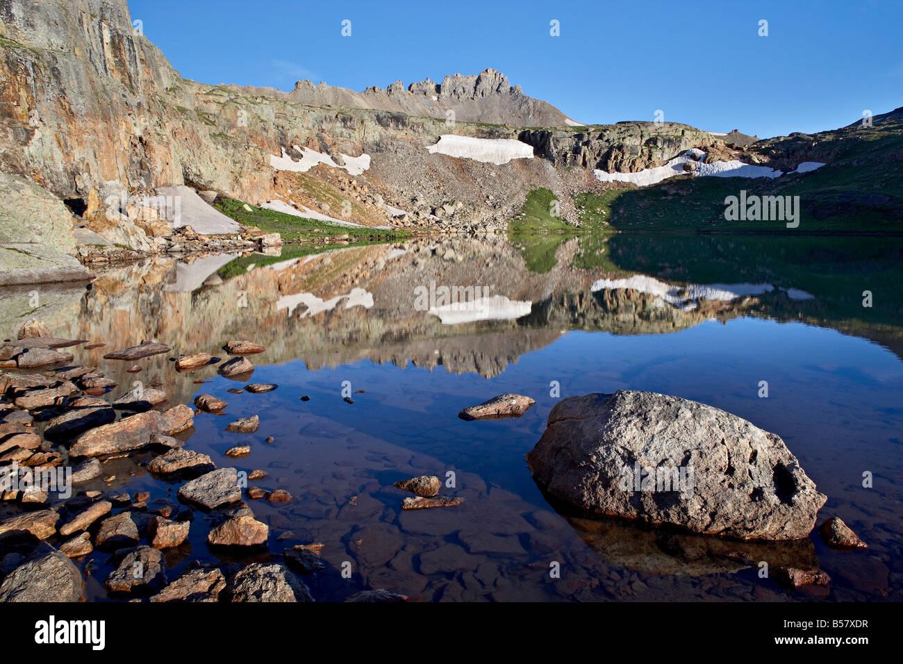 Bullion King Lake at dawn, Porphyry Basin, San Juan National Forest, Colorado, United States of America, North America - Stock Image