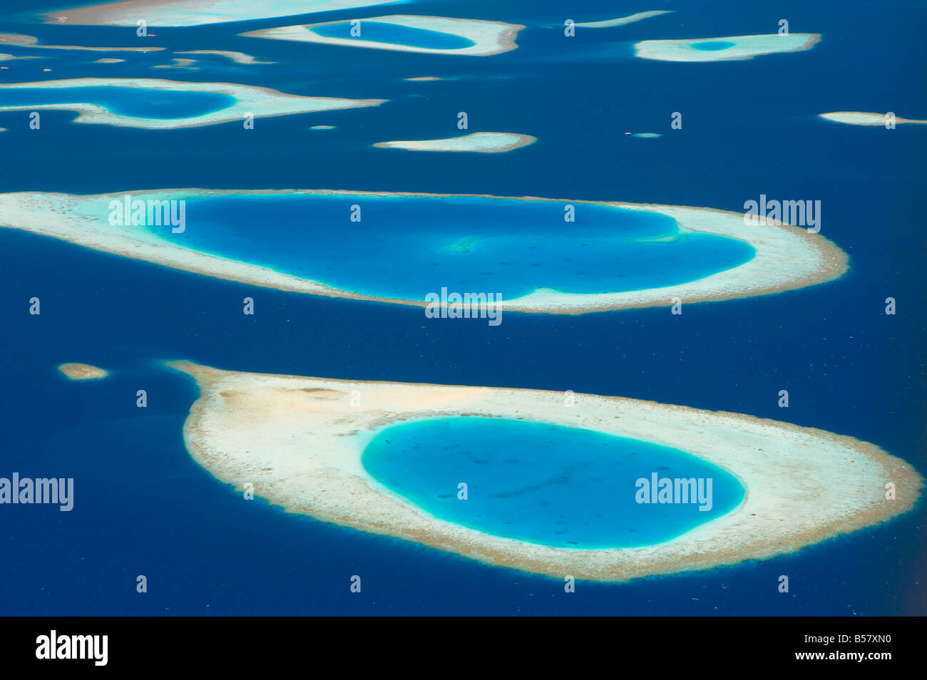 Aerial view of atolls in the Maldive Islands, Indian Ocean, Asia - Stock Image