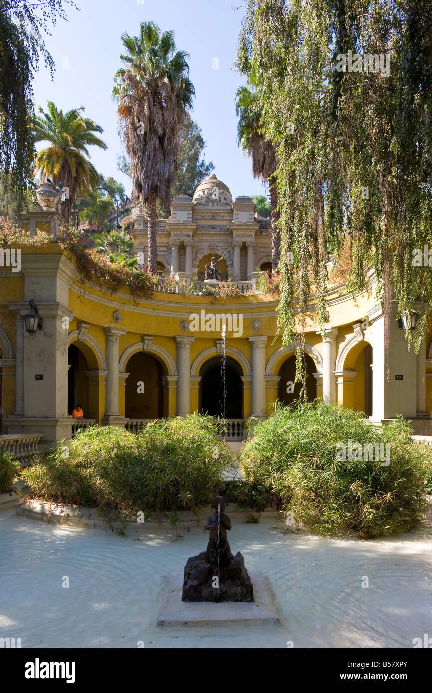 Cerro Santa Lucia (Santa Lucia park) and the ornate Terraza Neptuno fountain, Santiago, Chile, South America Stock Photo