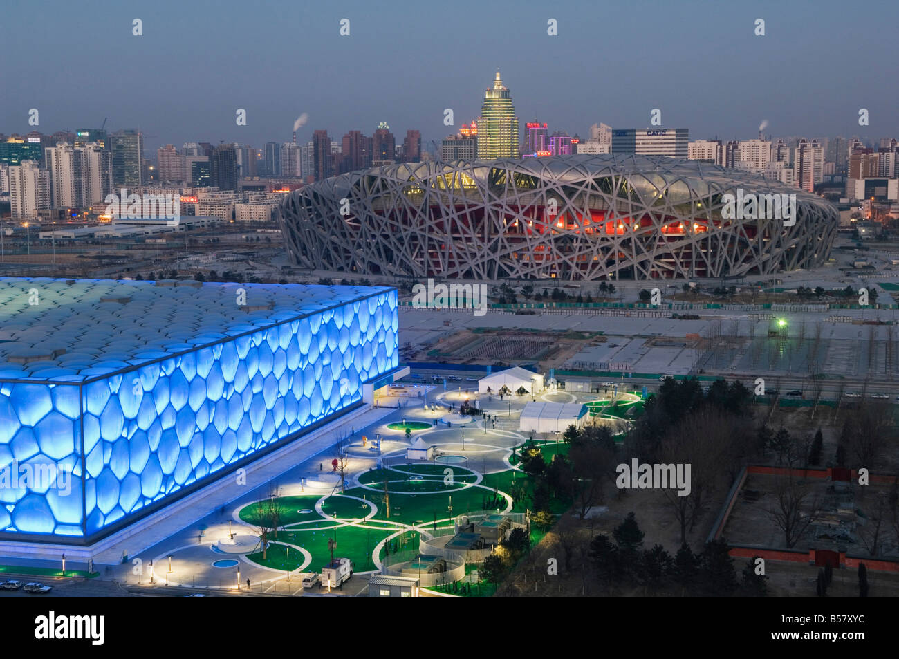 The Water Cube National Aquatics Center swimming arena and National Stadium at the Olympic Park, Beijing, China, - Stock Image