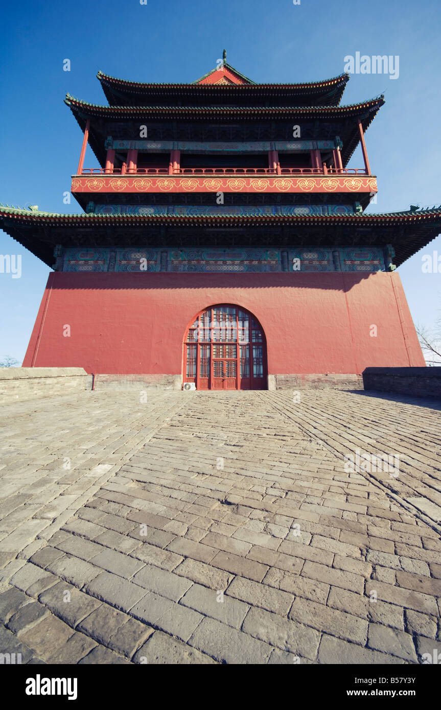 The Drum Tower, a later Ming dynasty version originally built in 1273 marking the centre of the old Mongol capital, - Stock Image