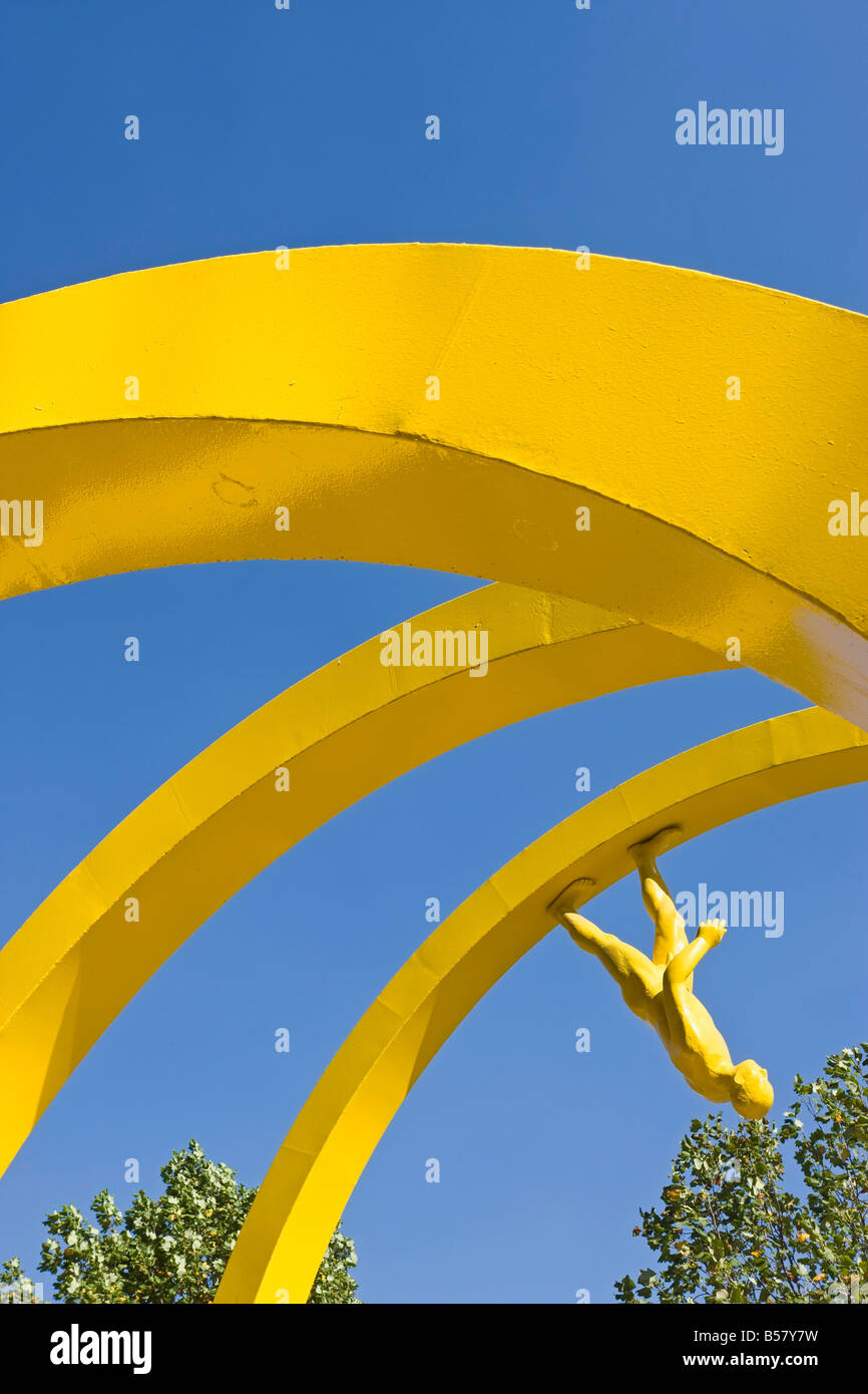 Yellow spiral sculpture in the central business district, Santiago, Chile, South America - Stock Image