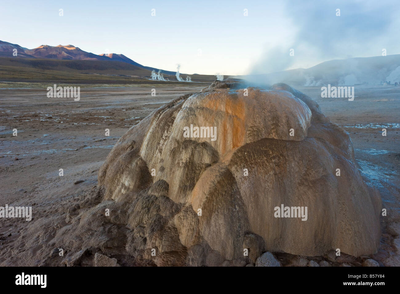 El Tatio Geysers, the area is ringed by volcanoes and fed by 64 geysers, Atacama Desert, Chile - Stock Image