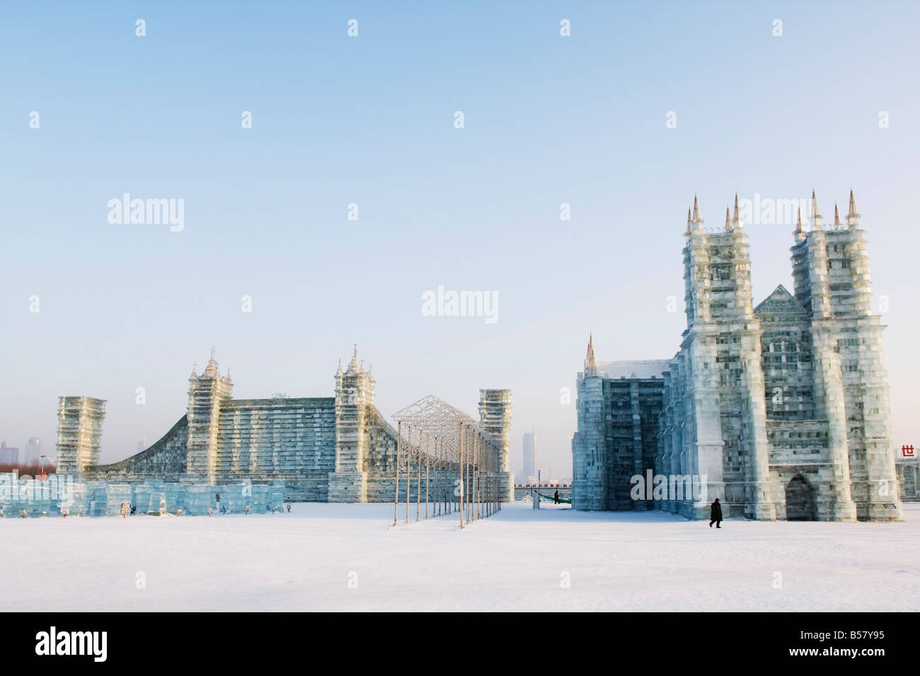 Ice sculptures of Notre Dame Cathedral and London's Tower Bridge at the Ice Lantern Festival, Heilongjiang Province, - Stock Image