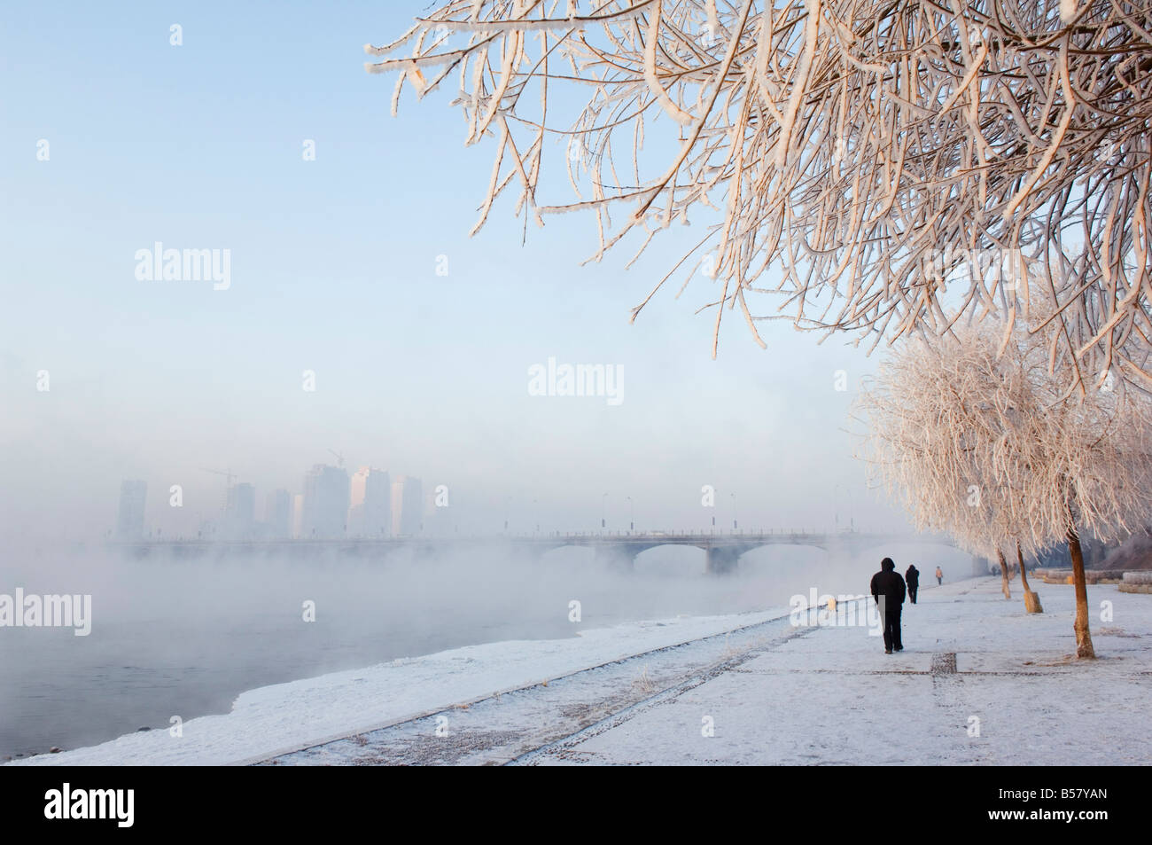 Mist rising off Songhua River and ice covered trees in winter, Jilin City, Jilin Province, Northeast China, China, - Stock Image