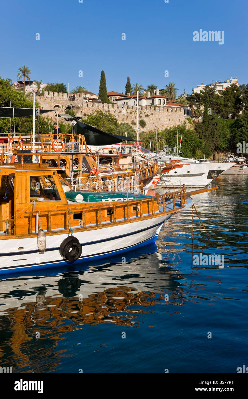 Boats moored in the Marina and Roman Harbour in Kaleici, Old Town, Antalya, Anatolia, Turkey, Asia Minor, Eurasia - Stock Image