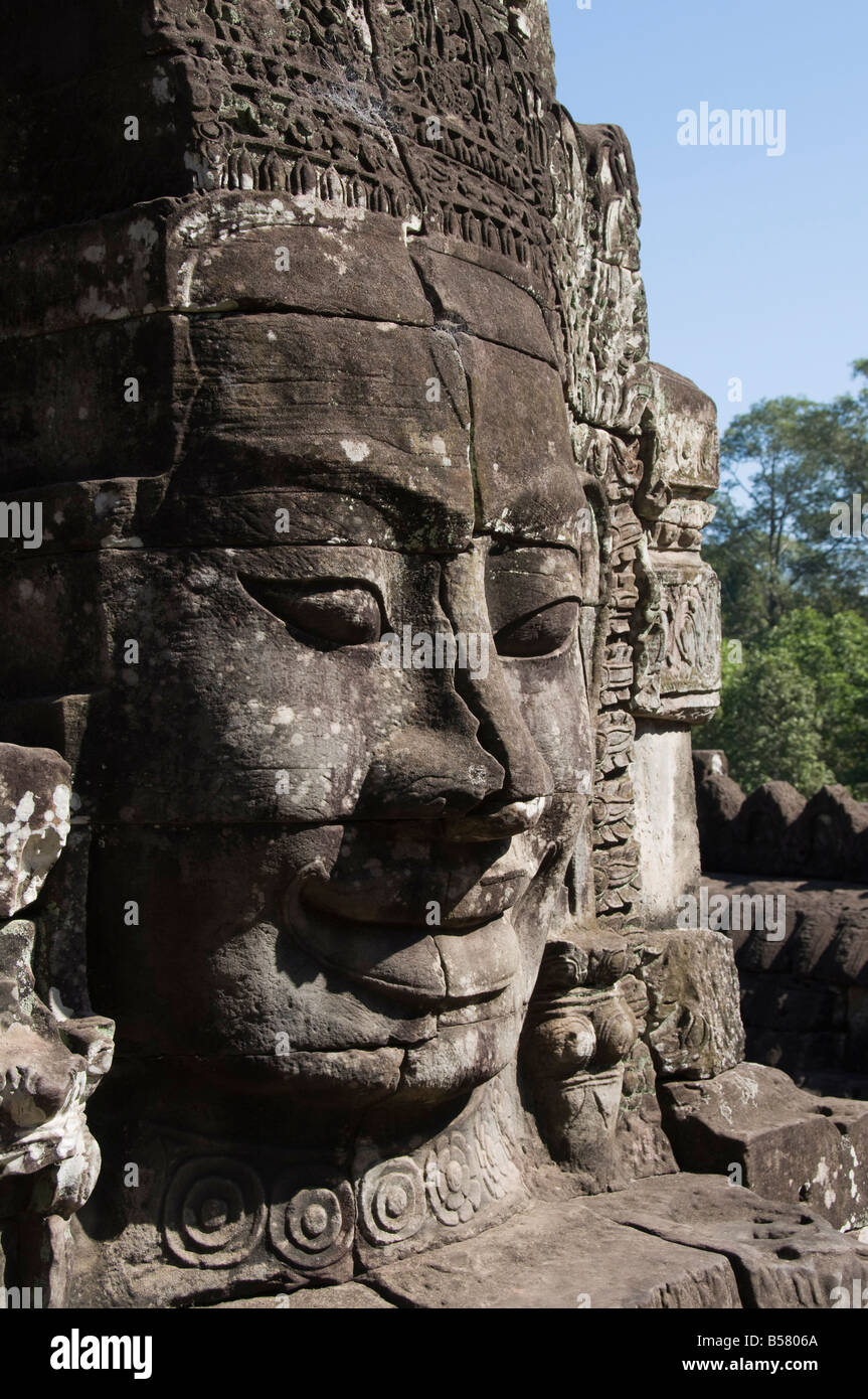 Bayon Temple, late 12th century, Buddhist, Angkor Thom, Angkor, UNESCO World Heritage Site, Siem Reap, Cambodia, - Stock Image