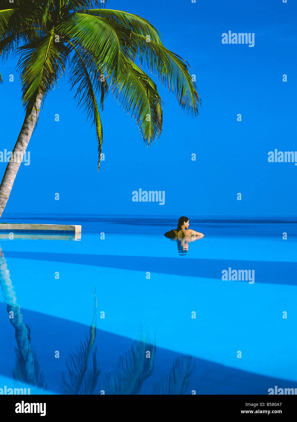 Woman in swimming pool under palm tree looking at sea, Maldives, Indian Ocean, Asia - Stock Image