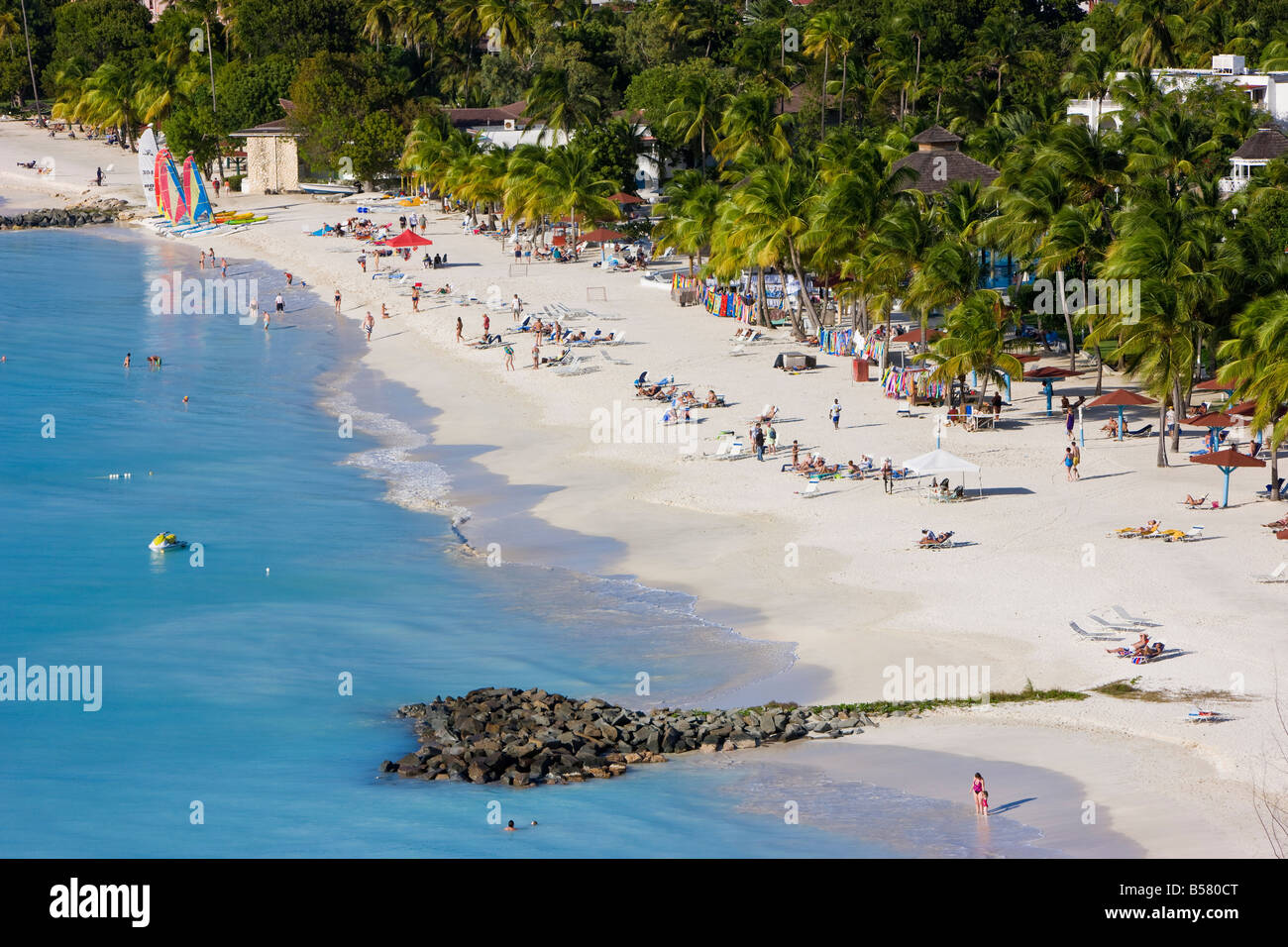 Elevated view over Jolly Harbour and Jolly Beach, Antigua, Leeward Islands, West Indies, Caribbean, Central America - Stock Image