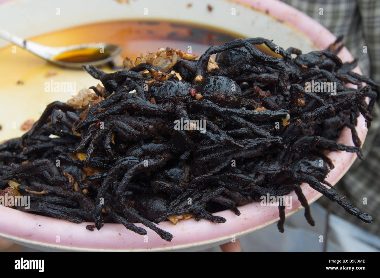Cooked spiders for sale in market, Cambodia, Indochina, Southeast Asia, Asia - Stock Image