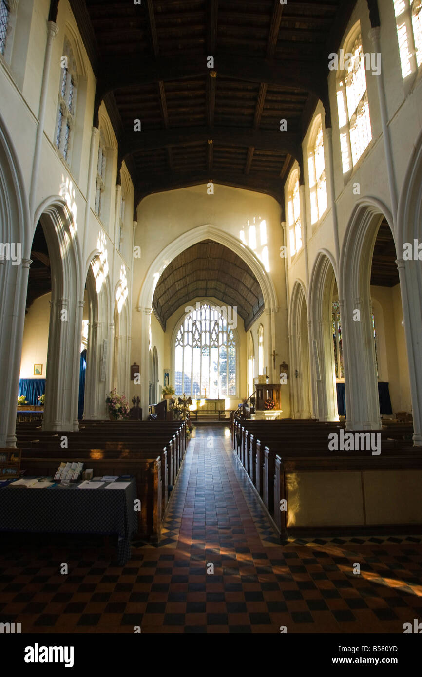 inside St Mary's Church in Cavendish, Suffolk, UK - Stock Image