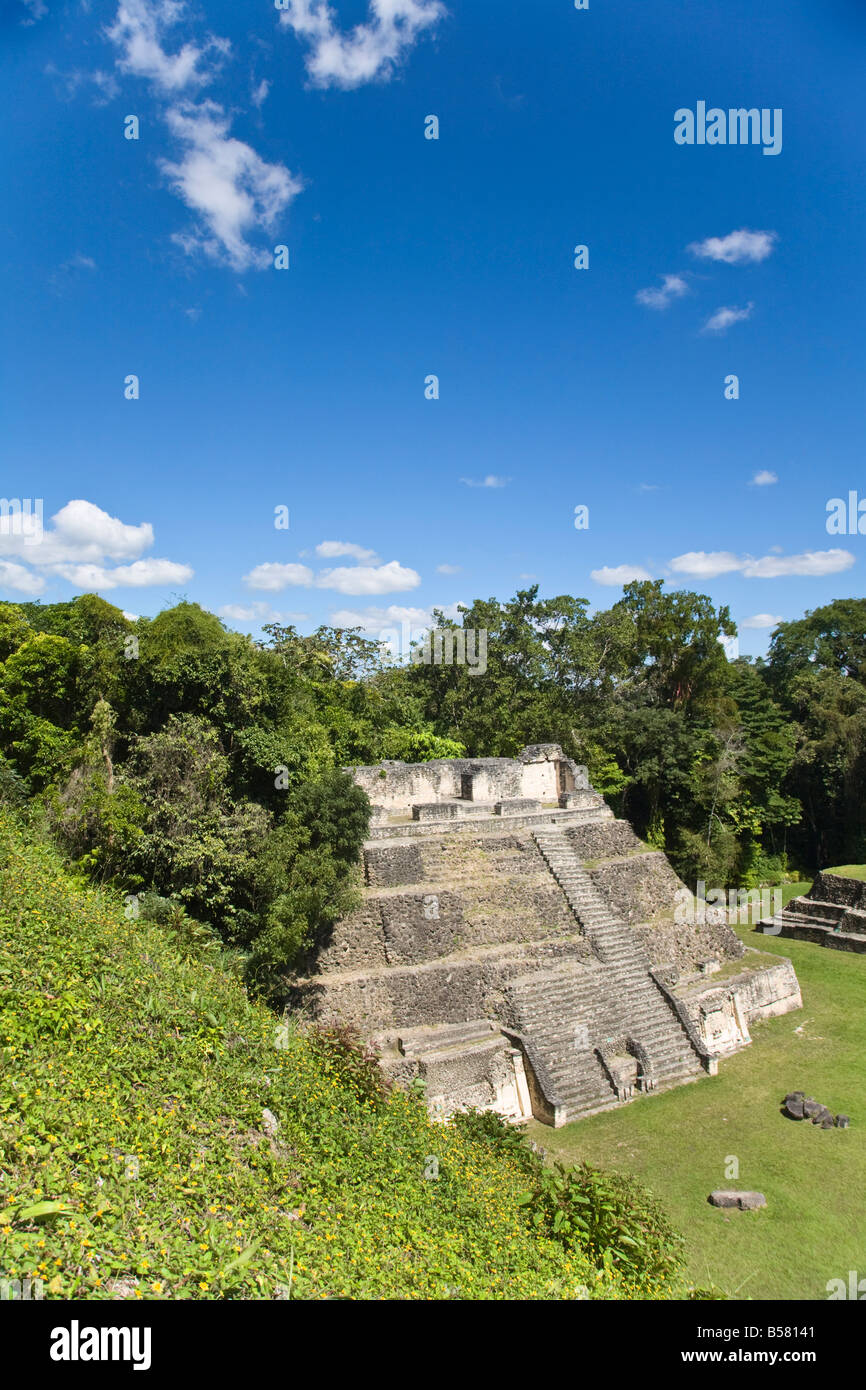 Plaza A Temple, Mayan ruins, Caracol, Belize, Central America - Stock Image