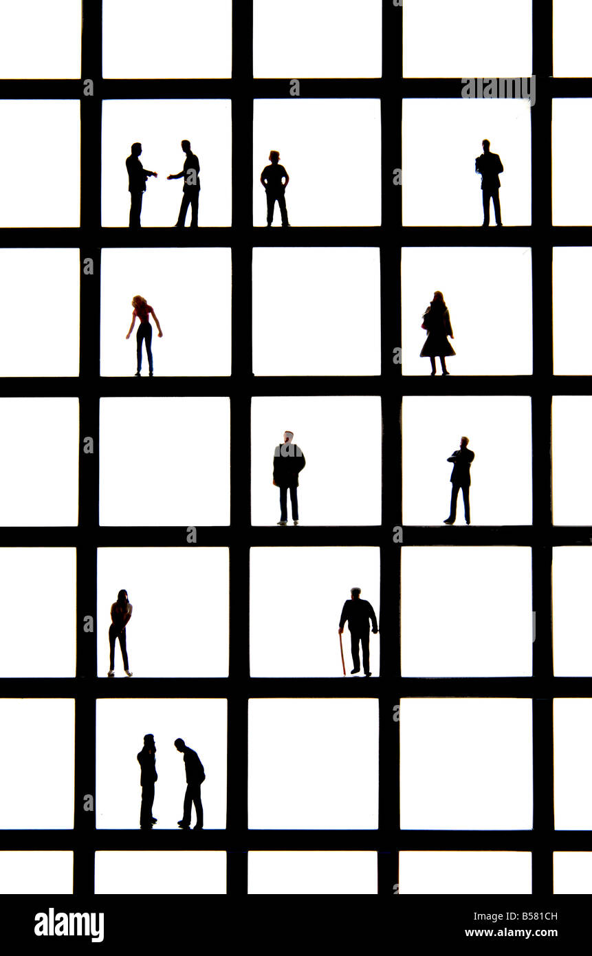 Life concept image - different types ages of people / demography / marketing / advertising / pigeonholed / grouping - Stock Image