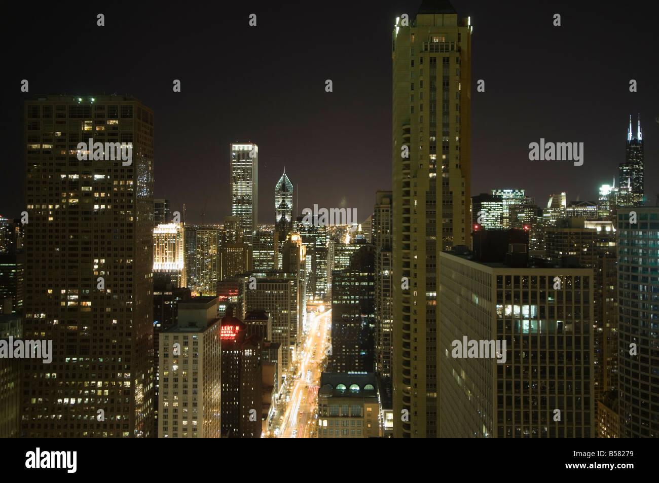 Night shot of the Magnificent Mile taken from the Hancock Building, Chicago, Illinois, United States of America, - Stock Image