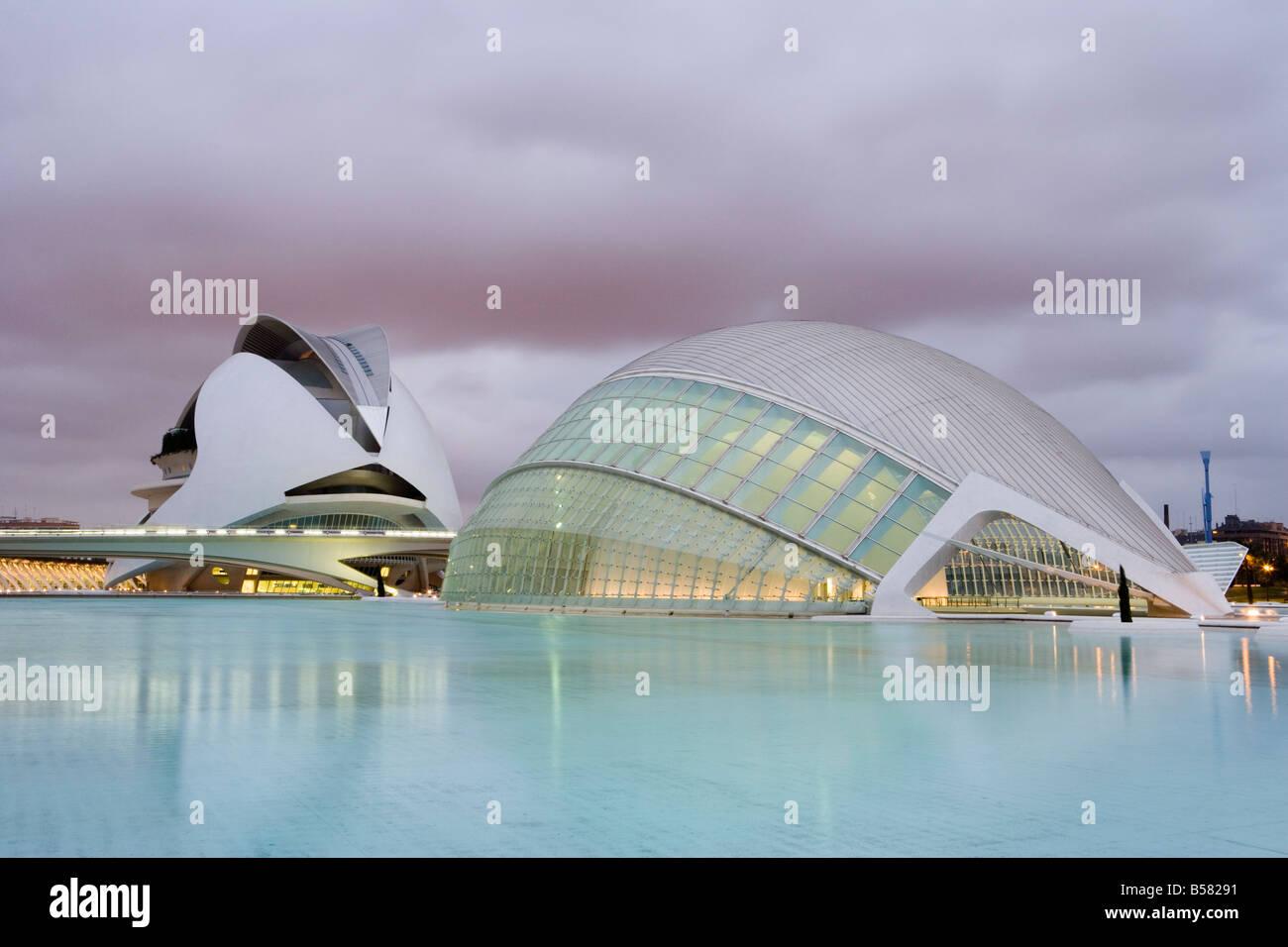Palau de les Arts, Ciutat de les Arts i de les Ciencies, museum, Valencia, Mediterranean, Costa del Azahar, Spain - Stock Image