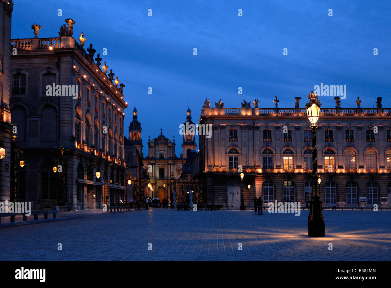 Evening floodlit view of Place Stanislas and the cathedral, UNESCO World Heritage Site, Nancy, Lorraine, France, Stock Photo