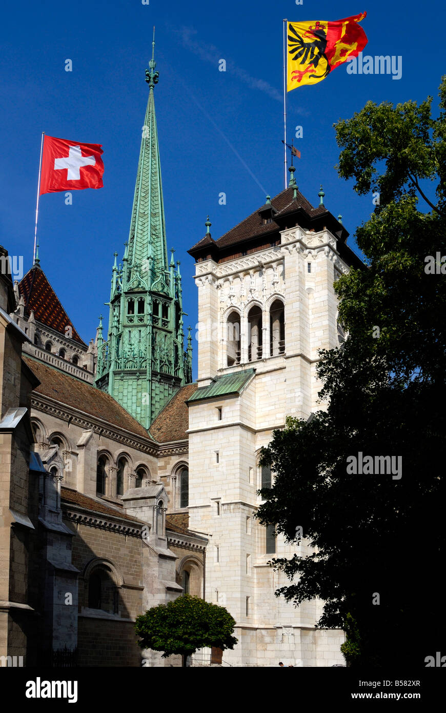 St. Pierre Cathedral, old town, Geneva, Switzerland, Europe - Stock Image