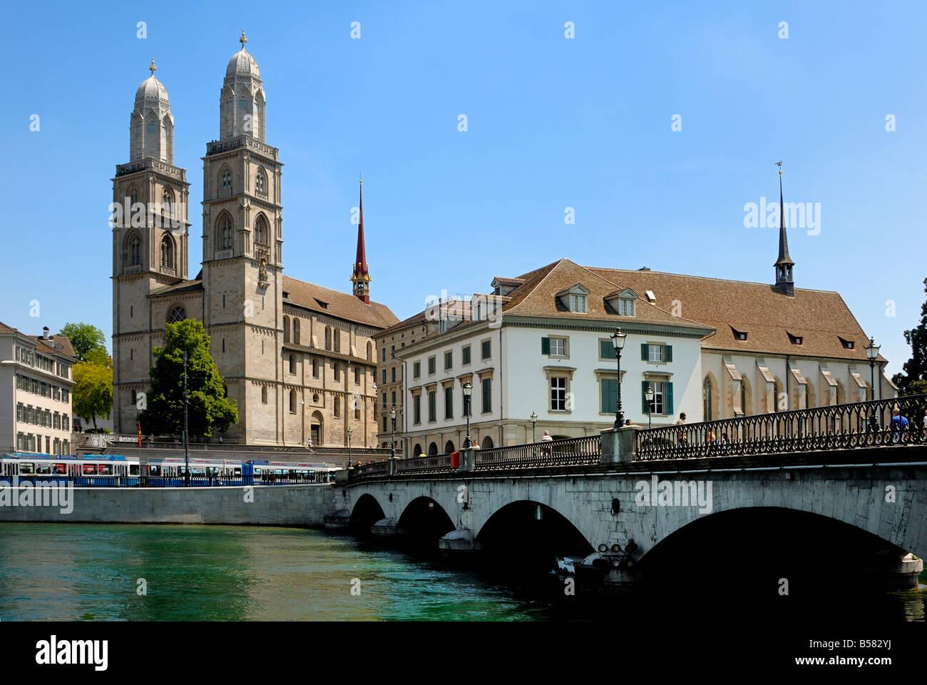 Grossmunster church and Munster bridge over the River Limmat, Zurich, Switzerland, Europe - Stock Image