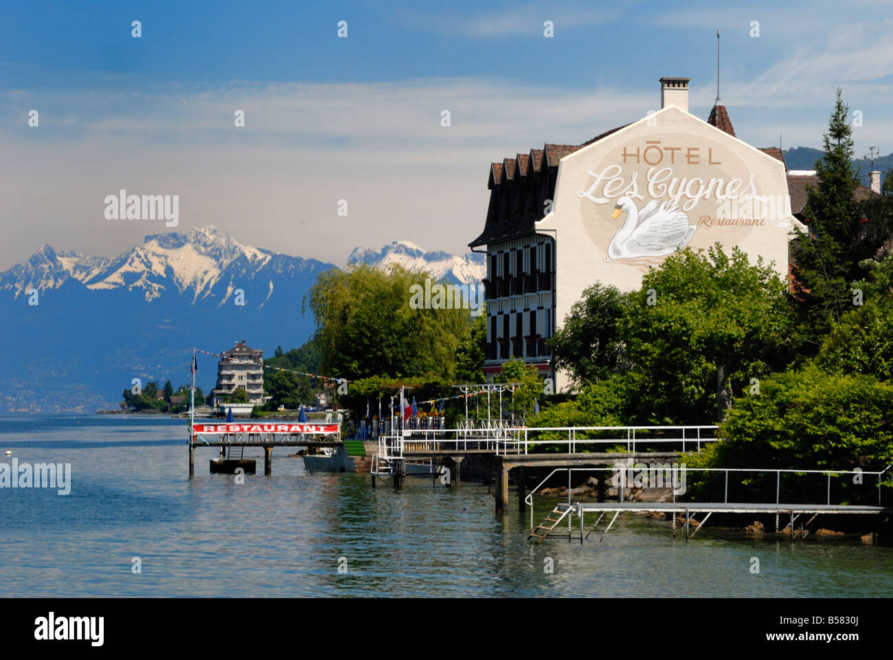 lakeside hotel lac leman lake geneva evian les bains stock photo 20461634 alamy. Black Bedroom Furniture Sets. Home Design Ideas