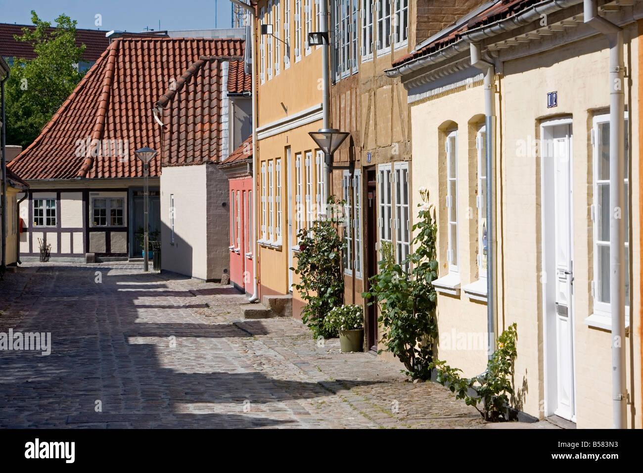 Overgade and Nedergate, area where Hans Christian Andersen was born, Odense, Funen, Denmark, Scandinavia, Europe Stock Photo