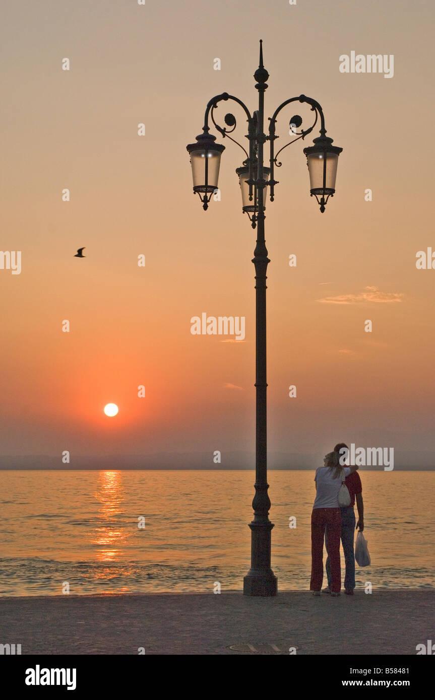 Sunset, Lazise, Lake Garda, Veneto, Italian Lakes, Italy, Europe - Stock Image