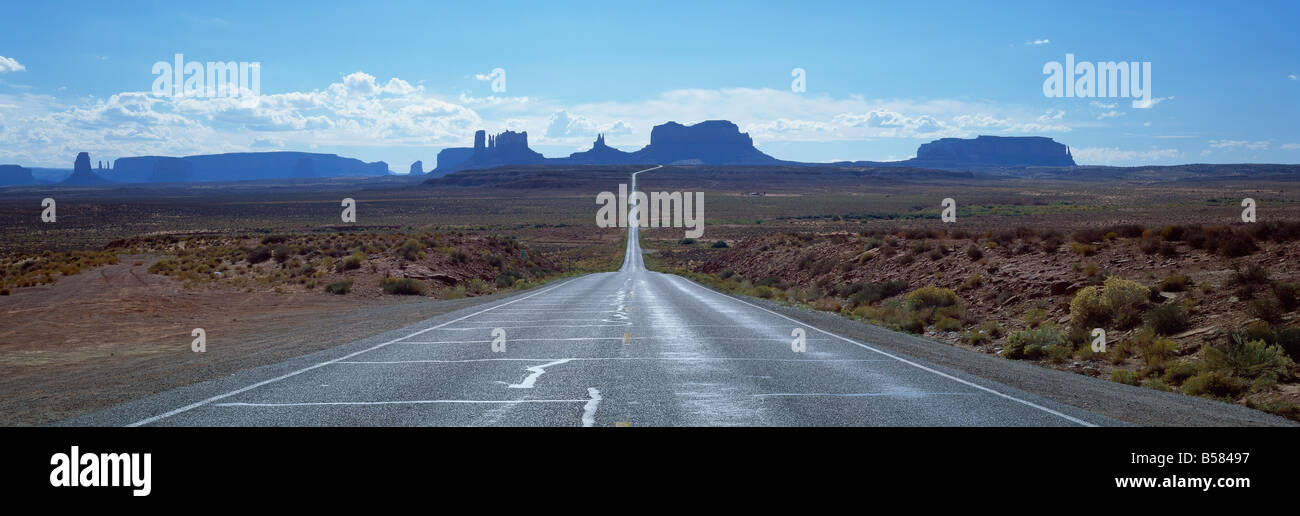 View along Highway 163 towards Monument Valley Tribal Park, Arizona, United States of America, North America - Stock Image