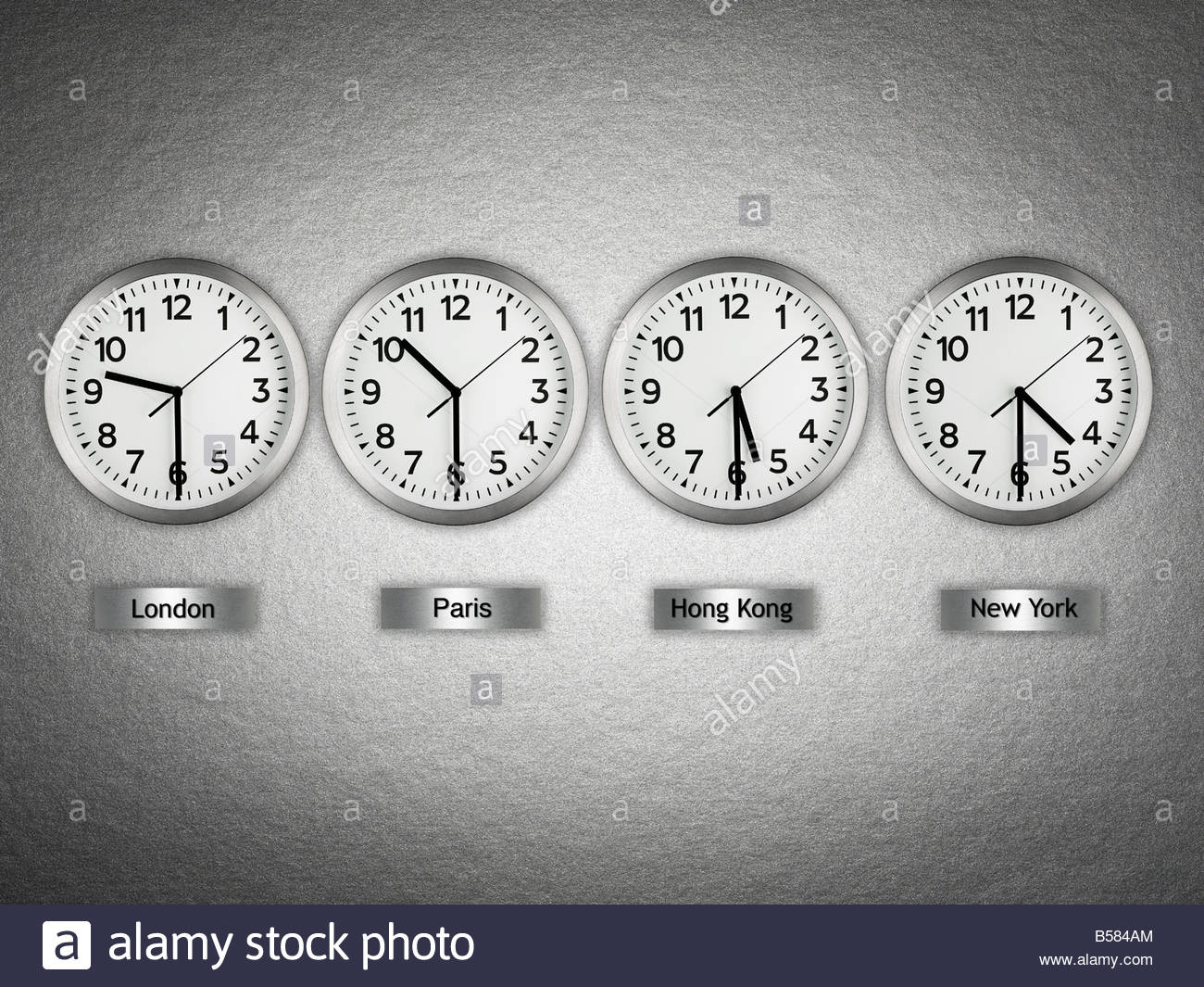 International wall clocks - Stock Image