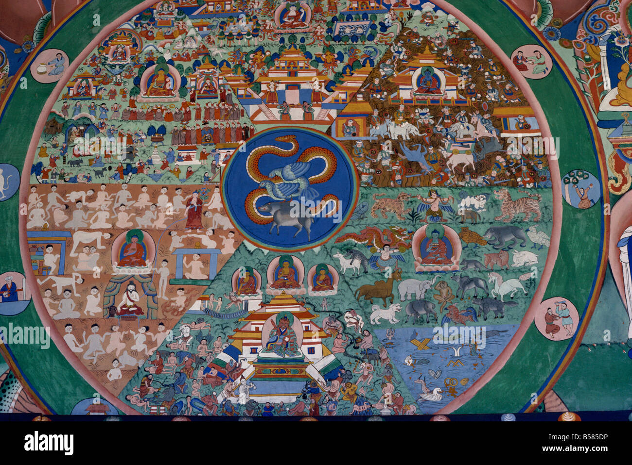 Wall painting of the wheel of life Punakha Dzong Bhutan Asia - Stock Image
