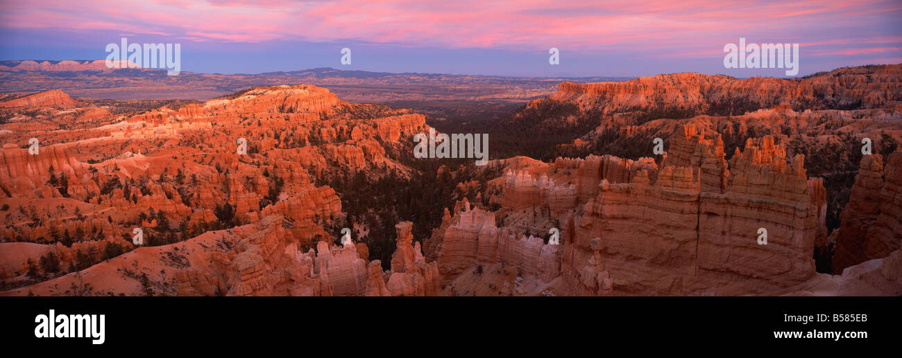 View from Sunset Point at sunset, Bryce Canyon National Park, Utah, United States of America, North America - Stock Image