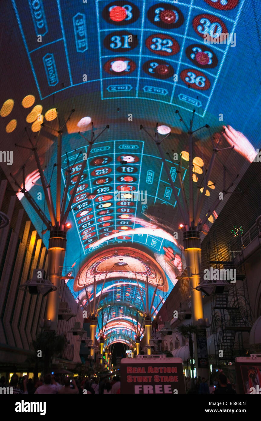 Fremont Street Light and Sound Show Experience, Fremont Street, the older part of Las Vegas, at night, Las Vegas, - Stock Image