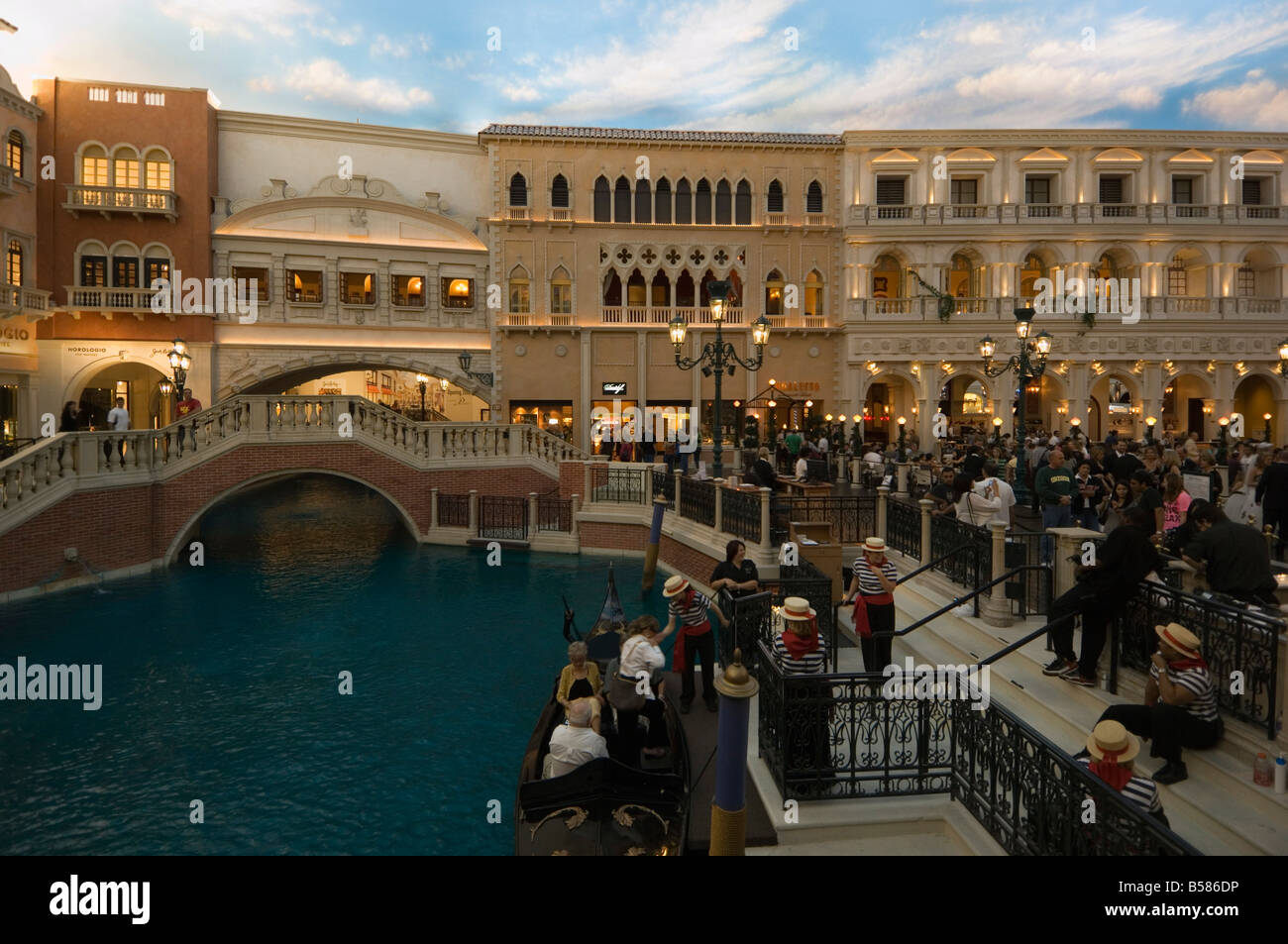 Inside the Venetian Hotel complete with gondaliers and a recreated Venice, Las Vegas, Nevada - Stock Image