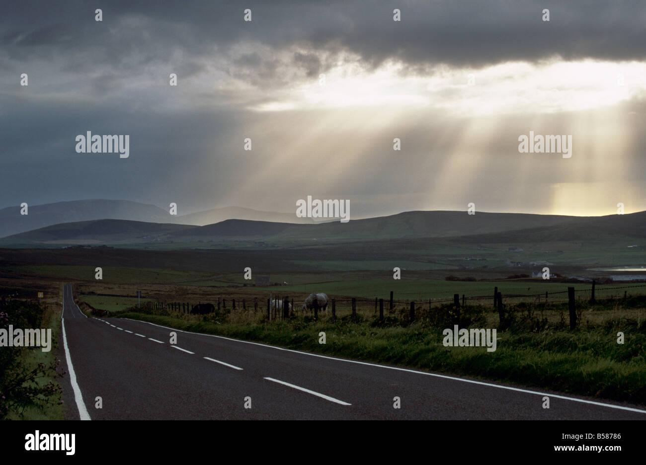 Empty road, Mainland, Orkney Islands, Scotland, United Kingdom, Europe - Stock Image