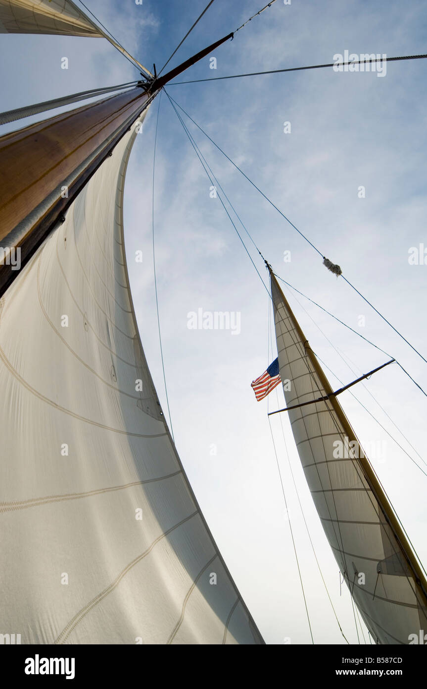 Old Vintage sail boat at Knapps Narrows Tilghman Island Talbot County Chesapeake Bay area Maryland United States - Stock Image