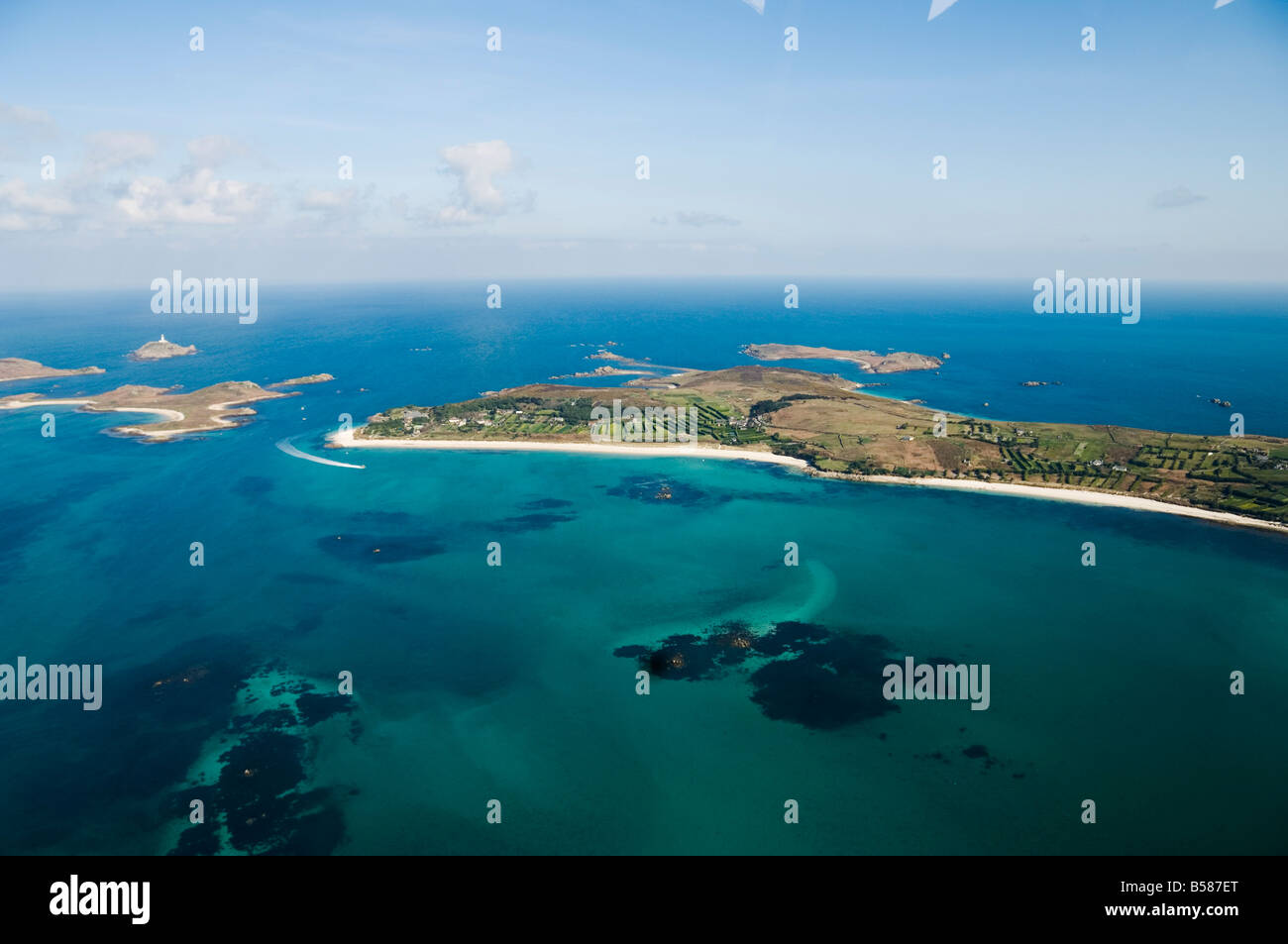 Aerial shot of St. Martins, Isles of Scilly, off Cornwall, United Kingdom, Europe - Stock Image