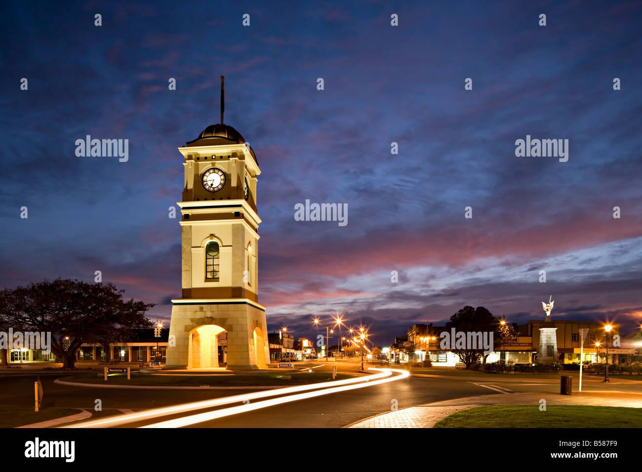 Clock tower in the square, Feilding, Manawatu, North Island, New Zealand, Pacific - Stock Image