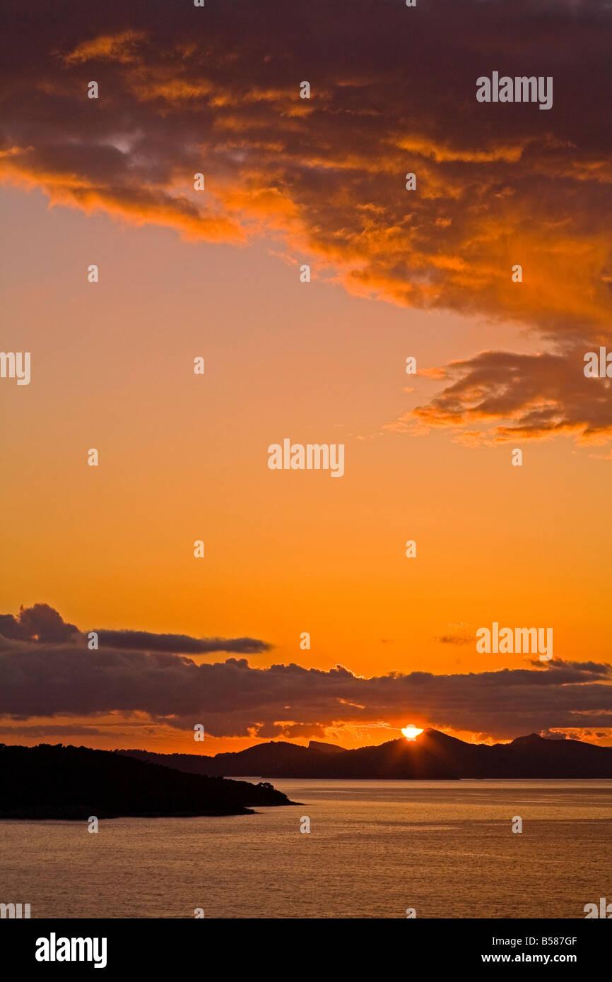 Sunset on the Dalmatian Coast, Dubrovnik area, Dalmatia, Croatia, Europe - Stock Image