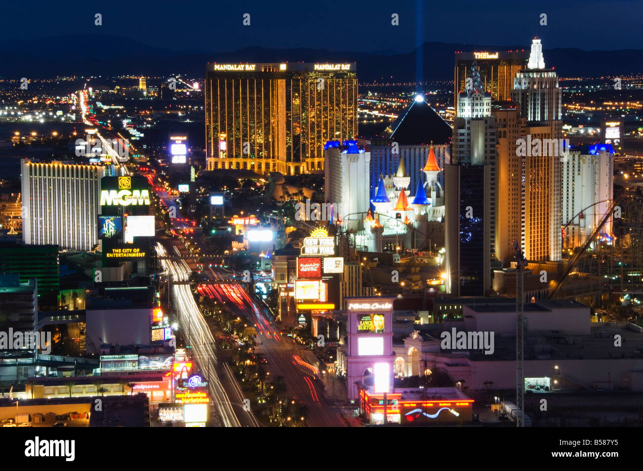 Neon lights of the The Strip at night, Las Vegas, Nevada, United States of America, North America - Stock Image