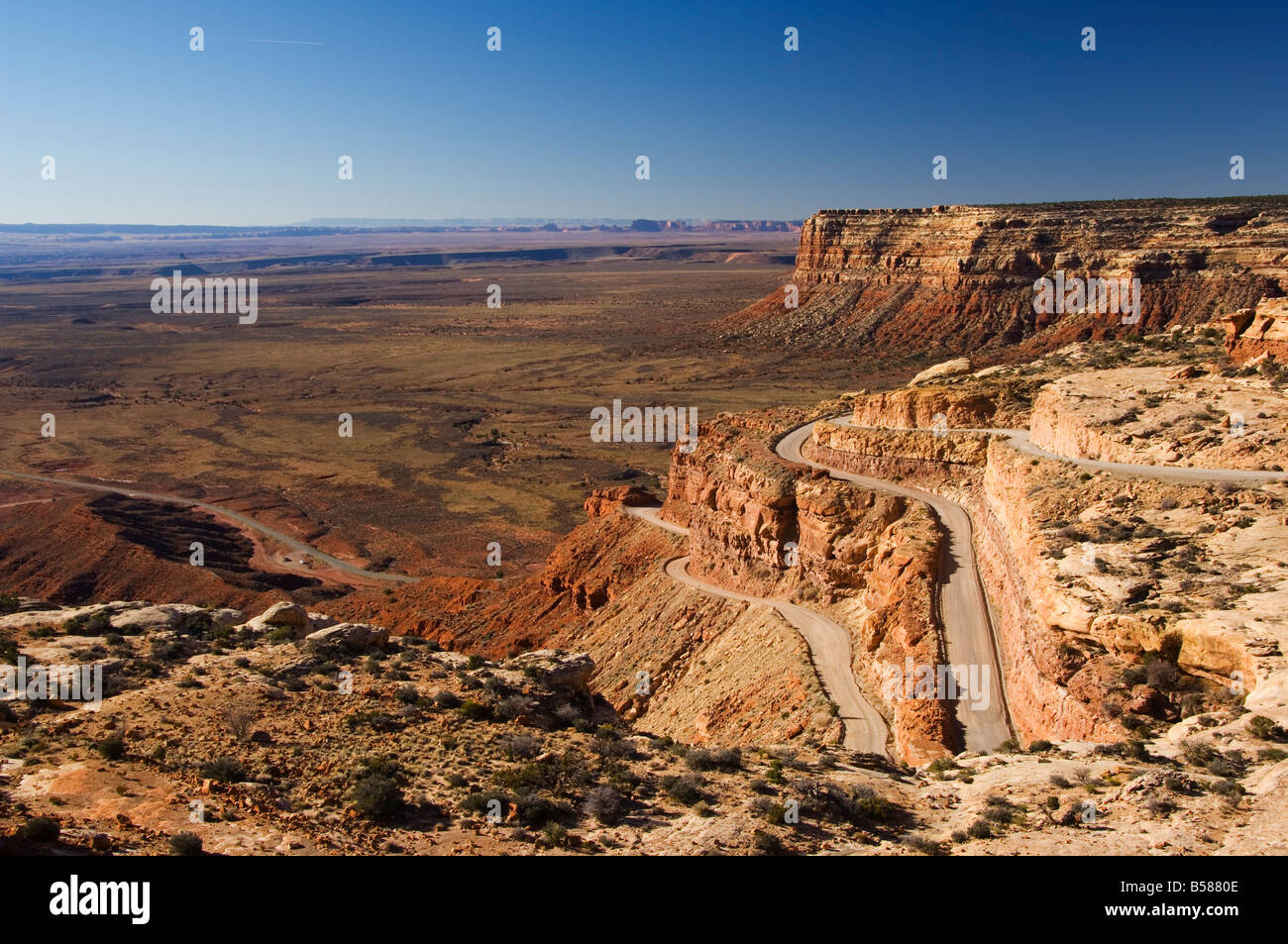 Hairpin bends leading down to the Valley of the Gods near Monument Valley, Arizona, United States of America, North - Stock Image