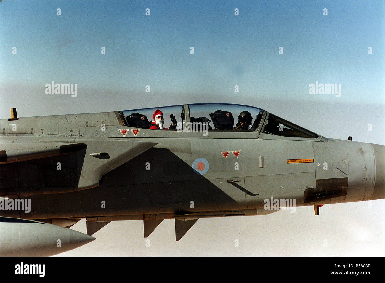 Father Christmas arriving by a Tornado F3 fighter in the Gulf December 1990 - Stock Image
