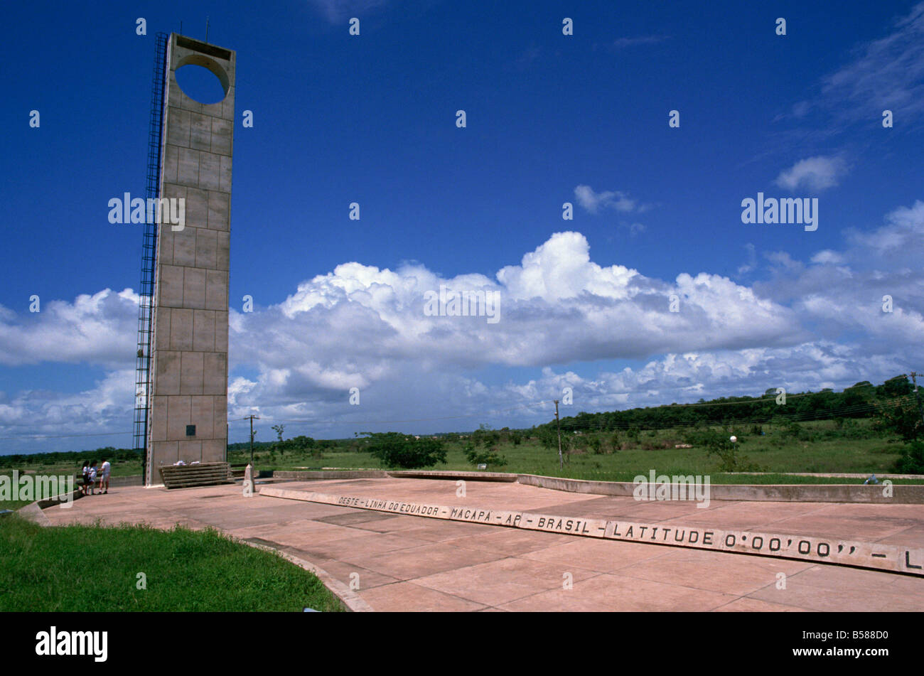 Marco Zero Equator Line Macapa Brazil South America - Stock Image
