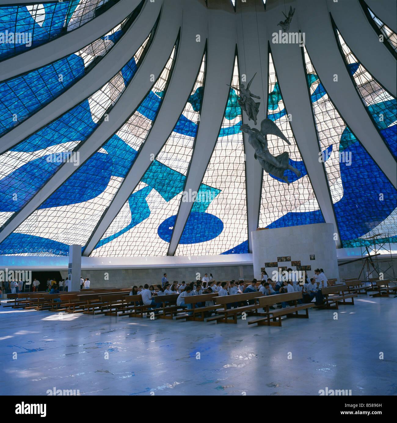 The interior of the Catedral Metropolitana in Brasilia Brazil South America G Renner - Stock Image