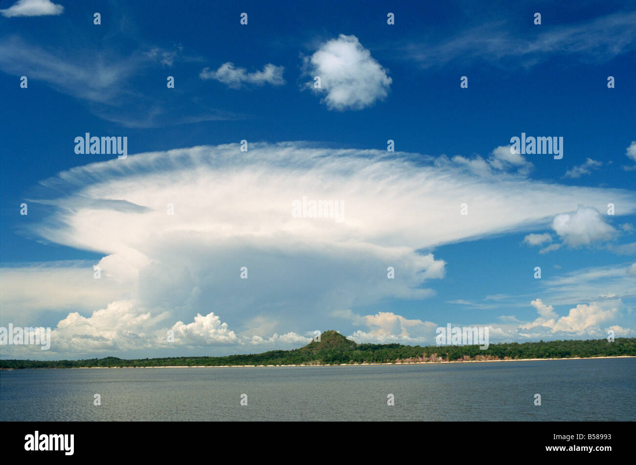 Cumulonimbus clouds over the coastline of Brazil South America - Stock Image