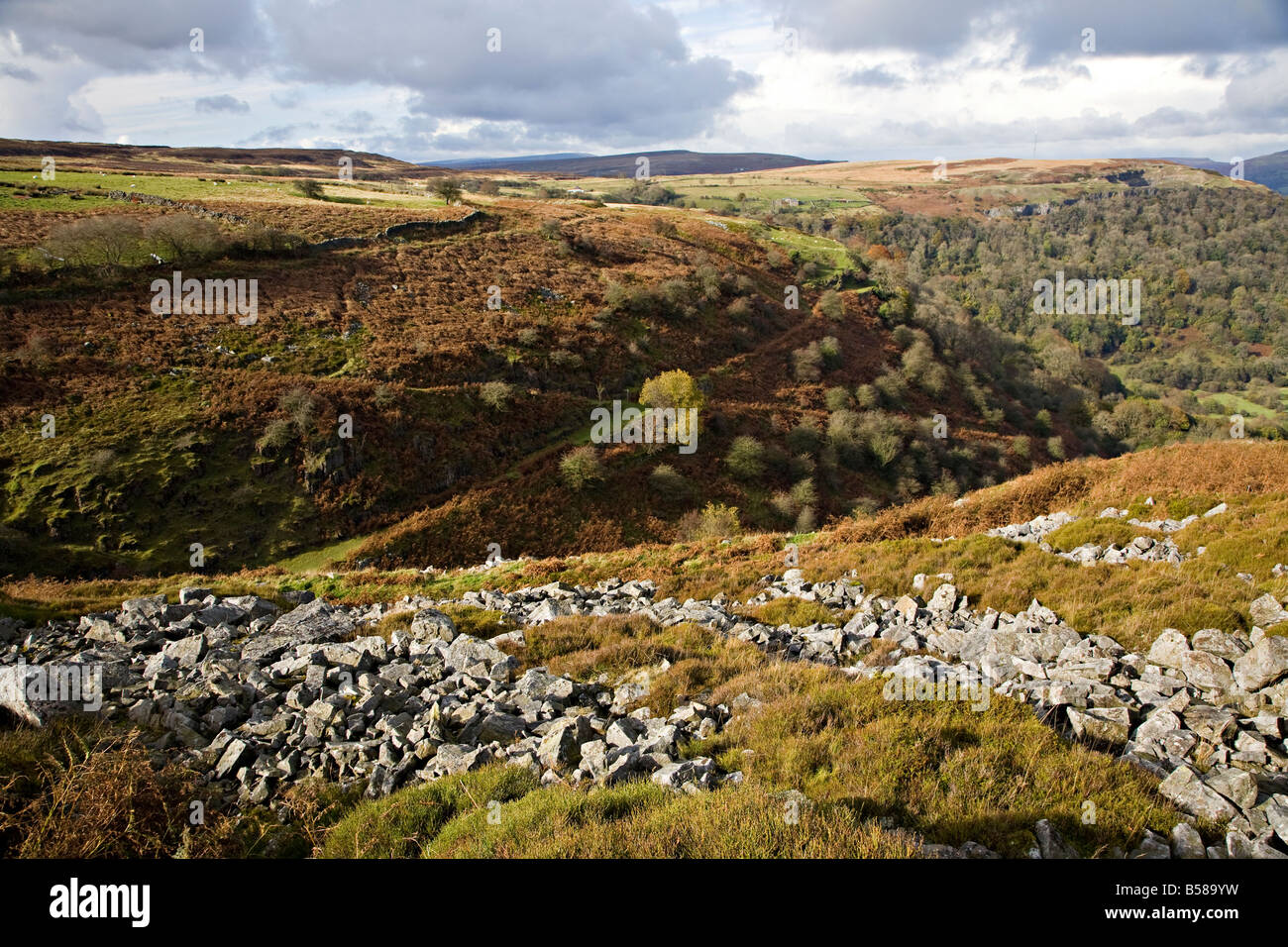 Industrial landscape with old mining inclines Pwll Du hillside near Blaenavon Wales UK - Stock Image