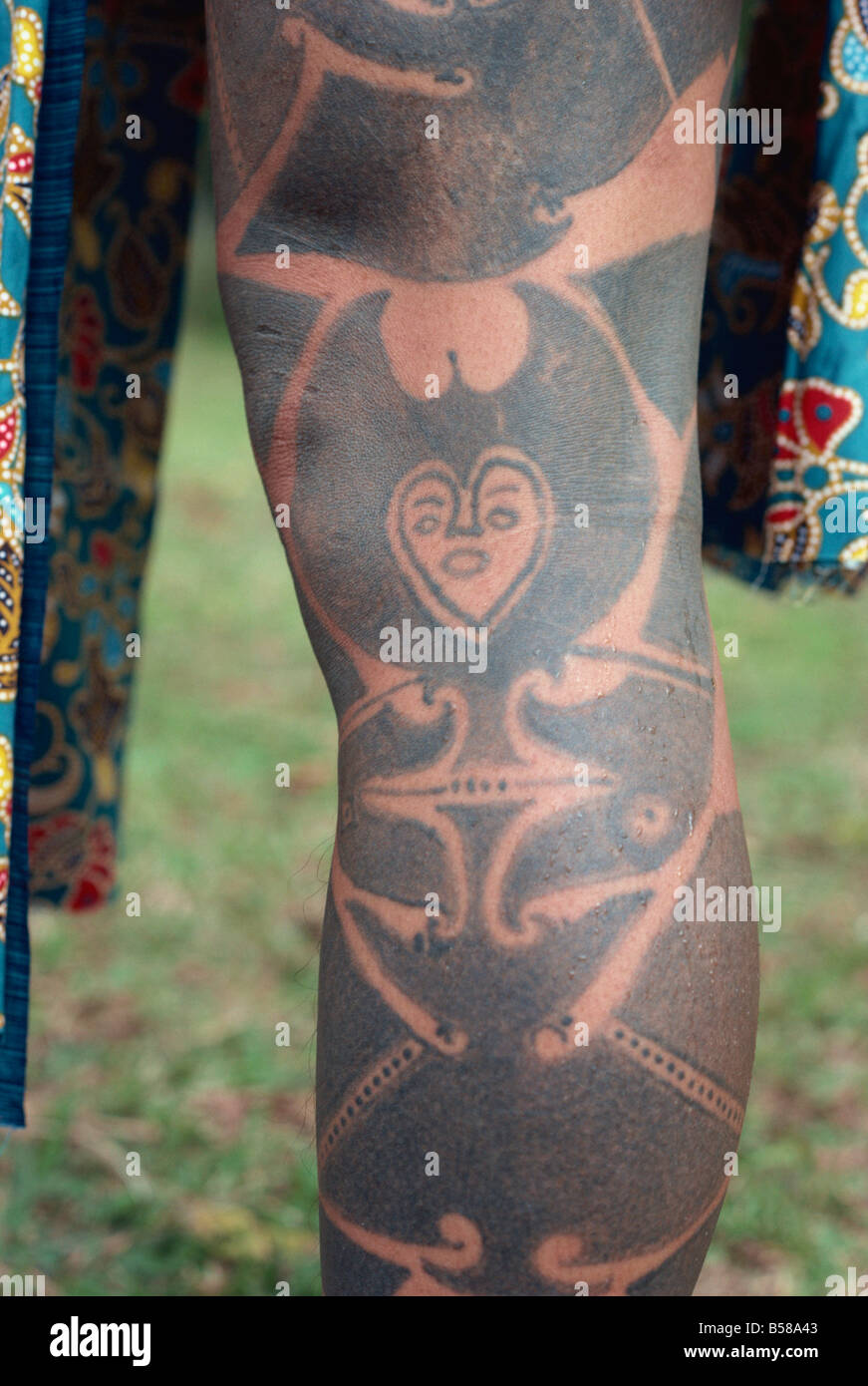 Tattoo, now rare, Iban tribe, Brunei, Borneo, Southeast Asia - Stock Image