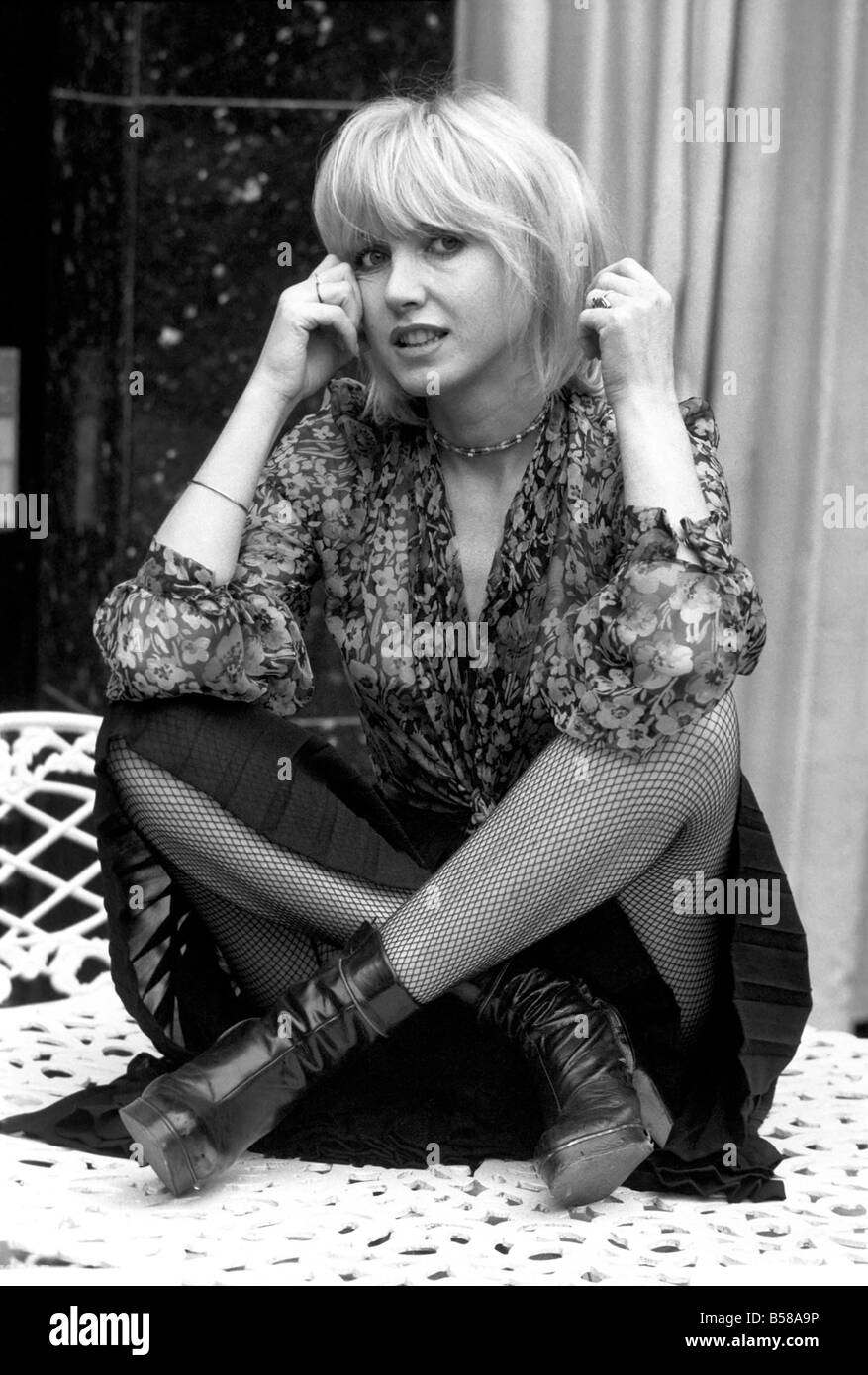 French film actress Bulle Ogier pictured at the Bohemian Bar of the Chelsea Hotel, in London. February 1975 75-00948 Stock Photo