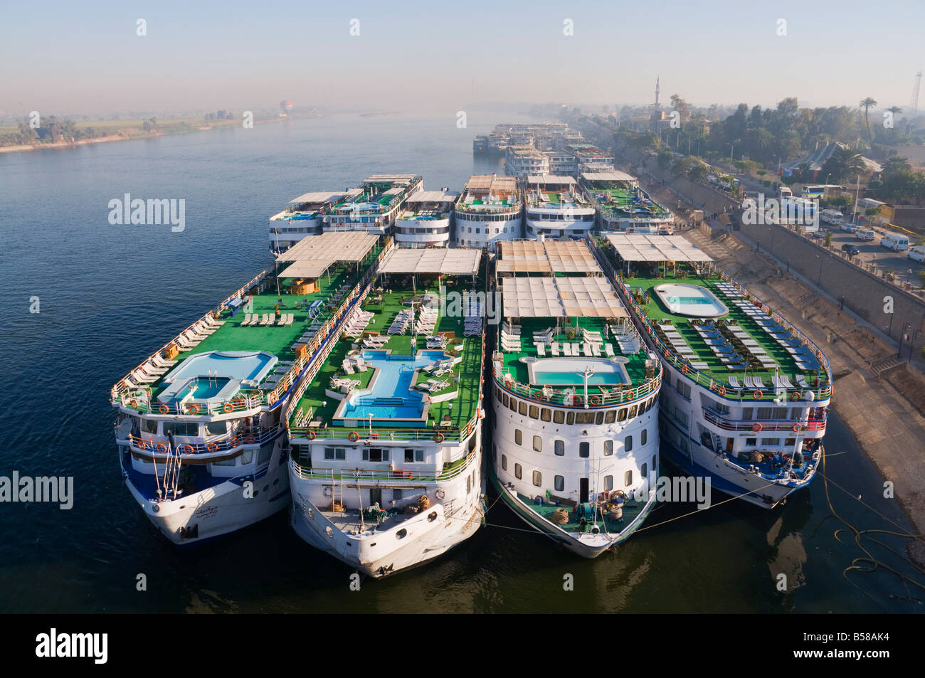Cruise ships on the Nile, Luxor, Thebes, Middle Egypt, Egypt, North Africa, Africa - Stock Image