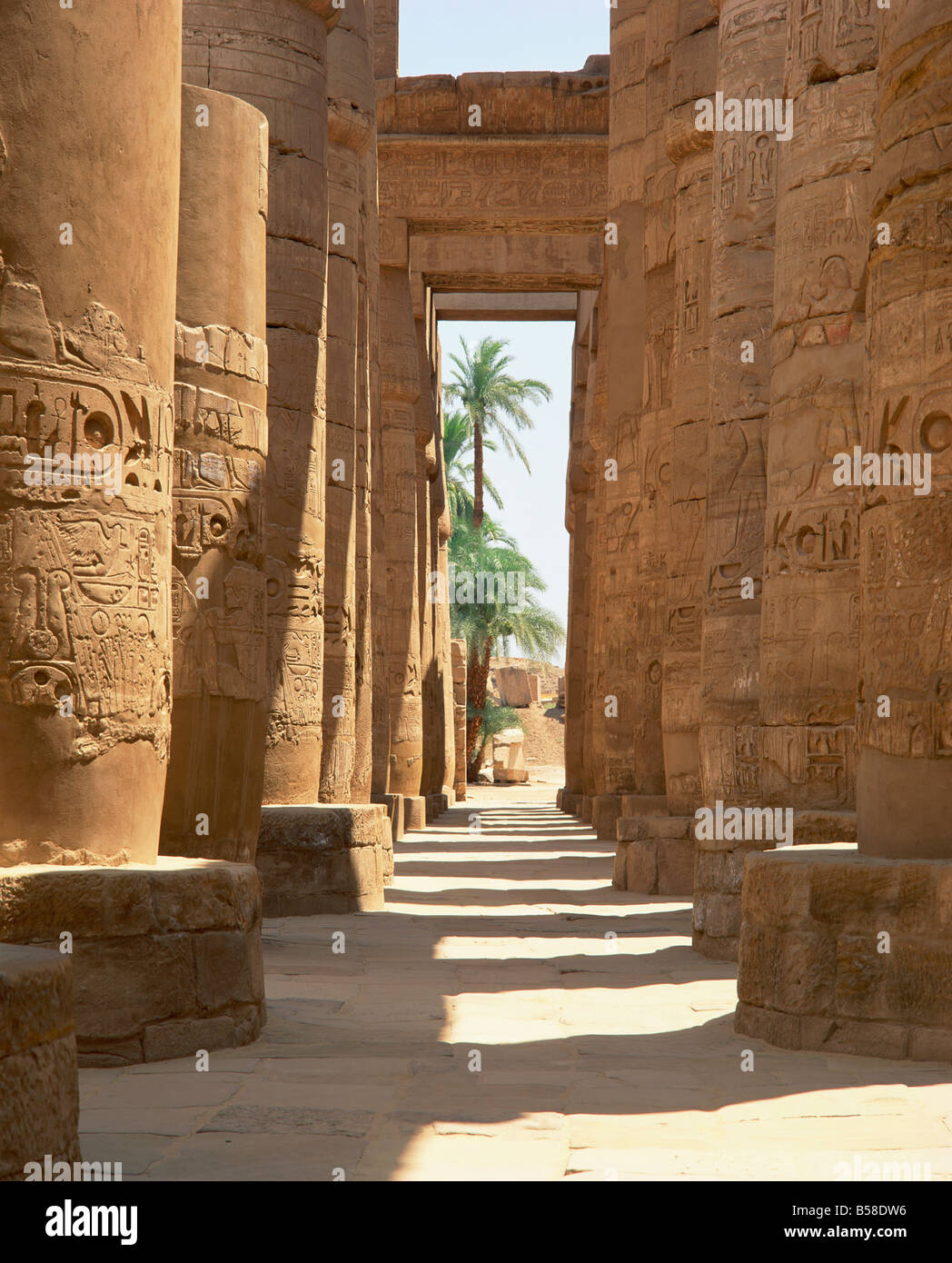 Columns with hieroglyphs in the Great Hypostyle Hall Temple of Karnak Thebes Egypt G Hellier - Stock Image