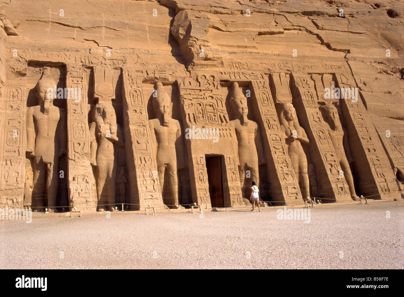 Temple of Hathor in honour of Nefertari, moved when the Aswan High Dam was built, Abu Simbel, Nubia, Egypt - Stock Image