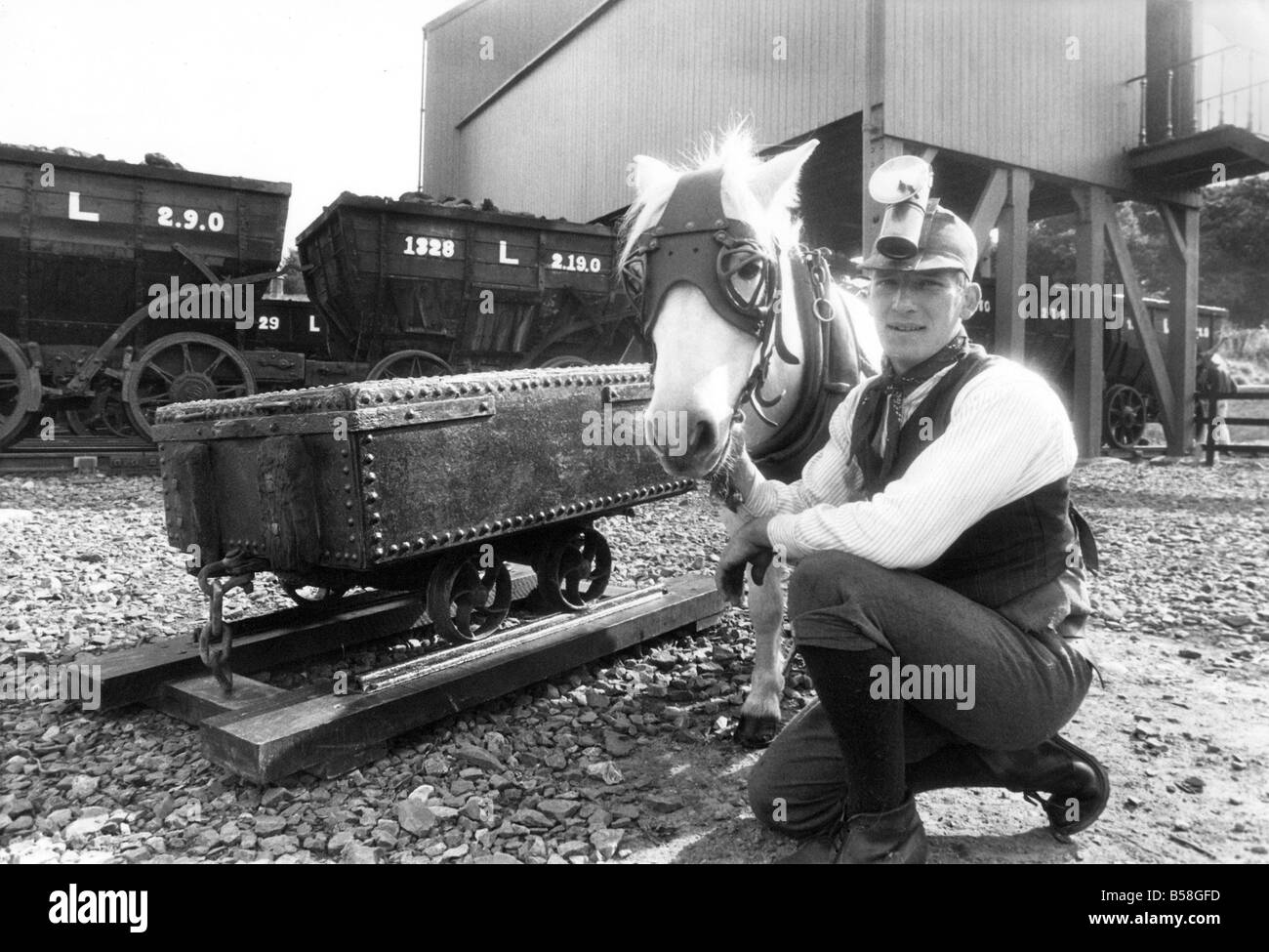 Pit pony Pip with handler Mr Keith Houghton at Beamish Open Air Museum - Stock Image