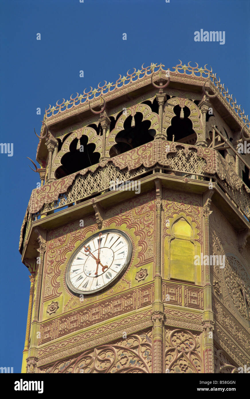 The clock tower of the Muhammad Ali Mosque Cairo Egypt North Africa Africa - Stock Image